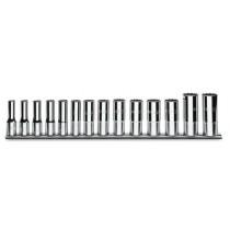 Zwölfkant-Steckschlüsselsatz, 14teilig, lange Ausführung (Art. 910BL), auf Halterung