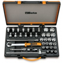 20 Steckschlüssel, 13 Schraubendrehereinsätze und 5 Betätigungswerkzeuge