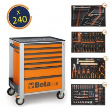 Beta Easy Werkzeugwagen mit 7 Schubladen und 240-teiligem Werkzeugsortiment
