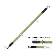 Klemmschalle mit 2 Haken und Längslöchern, LC 250 kg, hoch festes Polypropylenband (PP)