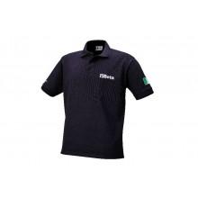Poloshirt, 3 Knöpfe, aus kardiertem Baumwollpikee 200 g/m, blau