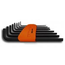 Sechskant-Stiftschlüsselsatz, 8teilig, gebogen, lange Ausführung (Art. 96L), mit Halterung