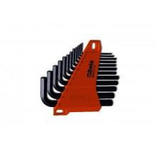 Sechskant-Stiftschlüsselsatz, 12teilig, gebogen (Art. 96N), mit Halterung