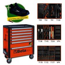 Werkzeugwagen mit 7 Schubladen, Anti-Kipp-System, orange inkl. 95-teiligem Sortiment (+ kostenlos 7352B)