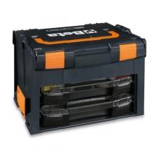 Werkzeugkoffer aus ABS, leer mit 2 Kleinteilekästen